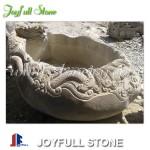 Custom boulder stone dragon bowl