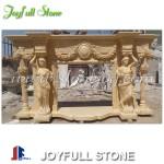 Custom galala beige marble fireplace mantels