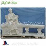 GT-316 White marble statuary garden bench
