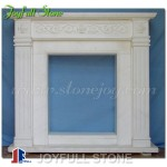 FM-017, White Marble Simple Indoor Fireplace Frame