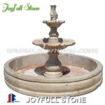 2 tiers outdoor travertine stone marble fountain for sale