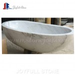 Freestanding white marble bath tub for bathroom
