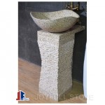 Yellow stone pedestal sinks for indoor and outdoor