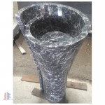 Modern black stone bathroom pedestal sinks