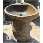 River stone pedestal sinks for indoor and outdoor