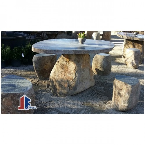 Basalt stone table set for garden and patio