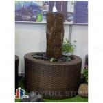 Black basalt pillar water fountains