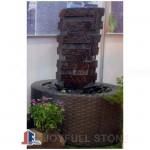 Black basalt column fountain set