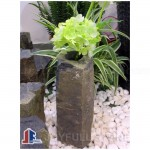 Small size black basalt stone planters