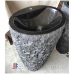 Black marble pedestal sink and basin