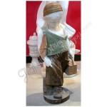 KC-709, Natural Marble Little Girl Garden Statues
