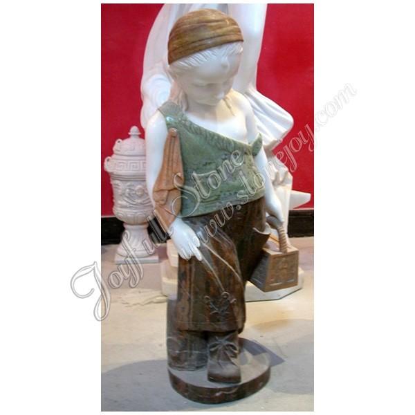 KC 709, Natural Marble Little Girl Garden Statues