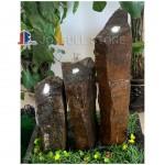 Natural split black basalt pillar water fountains