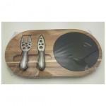 Slate and wood cheese board slate plates