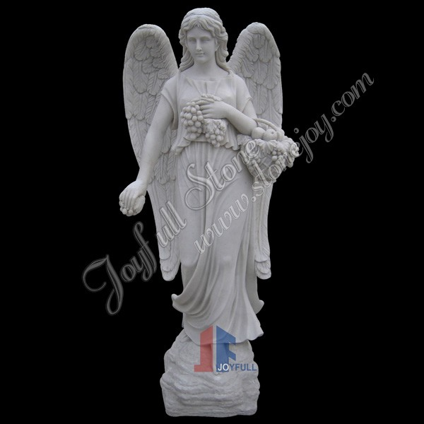KLE-401, White Marble Garden Winged Angel Statue