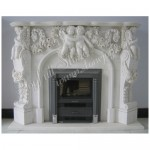 FS-304, Carved White Marble Fireplace Frame