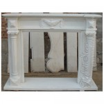 FC-106, Contemporary Style White Stone Fireplace