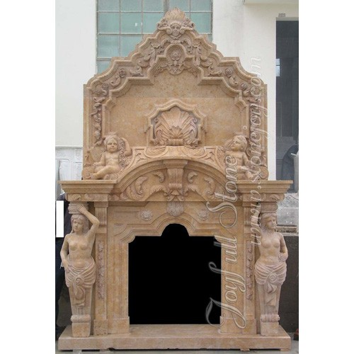 FO-104, Yellow Marble Overmantel Fireplaces