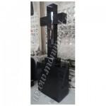 MC-040, Black granite cross tombstone