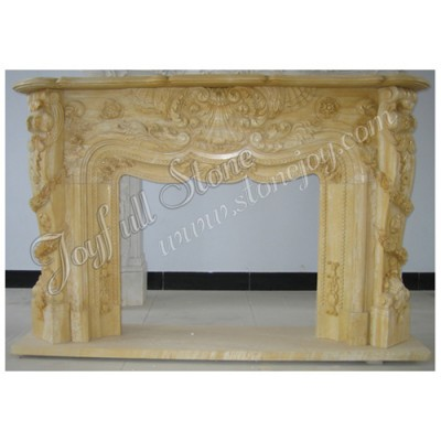 FG-167, Decorative Beige Stone Natural Marble Fireplace Mantel