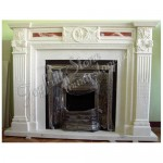 FG-338, English style stone fireplace with stove