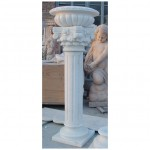 GPP-132, White marble pedestal column and flower pot