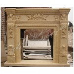 FG-527, Antique Yellow Marble Carving Fireplaces