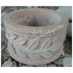 GP-816, Round Carved Stone Planter